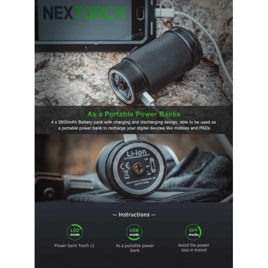 ΦΑΚΟΣ ΧΕΙΡΟΣ SAINT TORCH 11 3500 lumens NEXTORCH